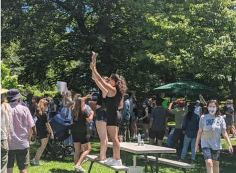 Image: Pelham residents, summer of 2020 holding BLM posters and protesting in honor of all who died at the cost of injustice in the United States. Photos from the Pelham Examinar.